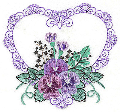 Embroidery Design: Pansies in Heart H large 4.95w X 4.60h