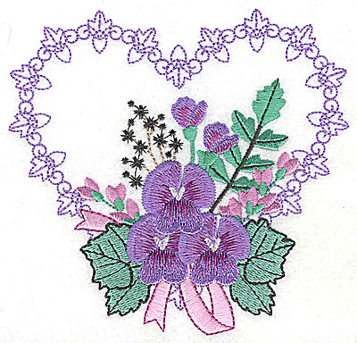 Embroidery Design: Pansies in Heart I large 4.96w X 4.74h