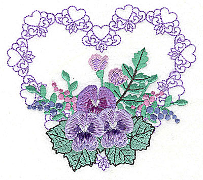 Embroidery Design: Pansies in Heart J large 4.97w X 4.36h