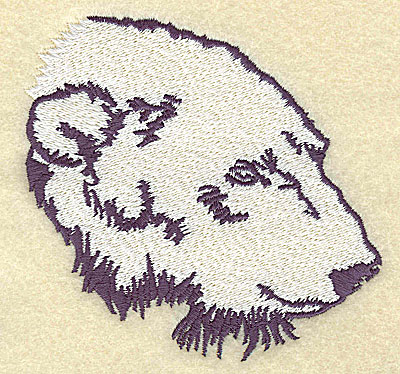 Embroidery Design: Polar bear head side view large 4.13w X 3.92h