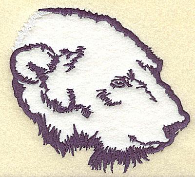 Embroidery Design: Polar bear head side view applique 5.28w X 4.94h