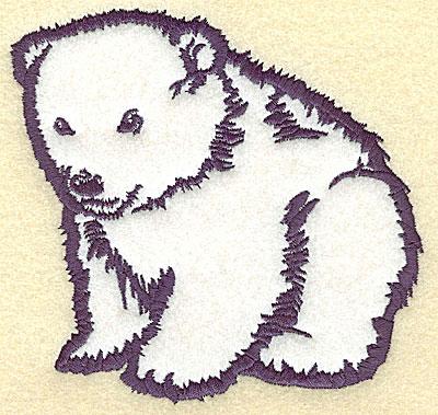 Embroidery Design: Polar bear cub sitting applique 5.24w X 4.99h