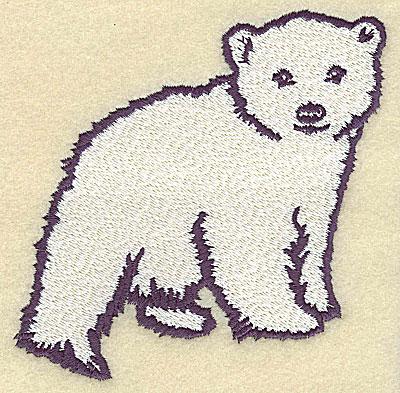 Embroidery Design: Polar bear cub standing large 4.55w X 4.35h