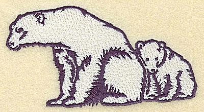 Embroidery Design: Polar bear with cub large 4.95w X 2.74h