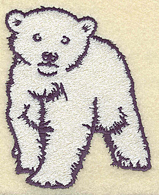 Embroidery Design: Polar bear cub front view large 3.61w X 4.53h