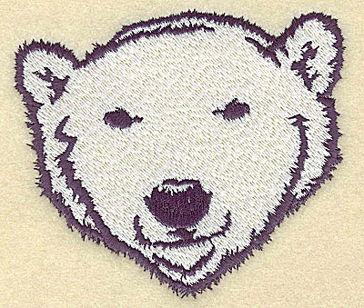 Embroidery Design: Polar bear head front view large 3.89w X 3.41h