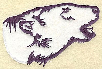 Embroidery Design: Polar bear head side view applique 6.93w X 4.56h