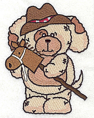 Embroidery Design: Pudgy Puppy with toy horse large 3.71w X 4.92h