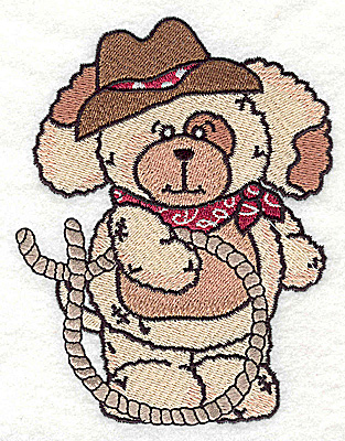 Embroidery Design: Pudgy Puppy with lasso large 3.85w X 4.94h