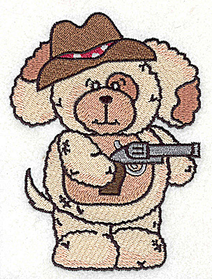 Embroidery Design: Pudgy Puppy with pistol large 3.64w X 4.94h