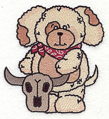 Embroidery Design: Pudgy Puppy with steer skull large 4.17w X 4.49h