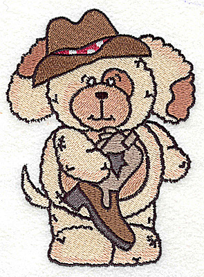 Embroidery Design: Pudgy Puppy with cowboy boot large 3.64w X 4.94h
