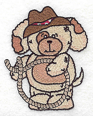 Embroidery Design: Pudgy Puppy with lariat small 3.09w X 3.86h