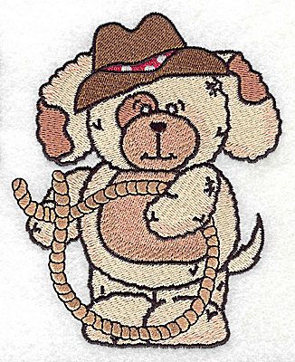 Embroidery Design: Pudgy Puppy with lariat large 3.98w X 4.97h