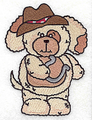 Embroidery Design: Pudgy Puppy with horseshoe large 3.64w X 4.94h