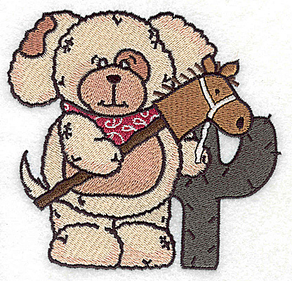 Embroidery Design: Pudgy Puppy and cactus large 4.75w X 4.50h