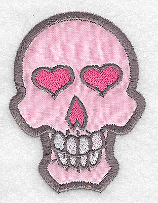 Embroidery Design: Pink skull with teeth small applique 2.42w X 3.23h