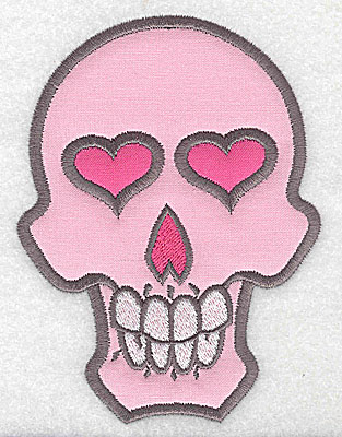 Embroidery Design: Pink skull with teeth large double applique 3.66w X 4.93h