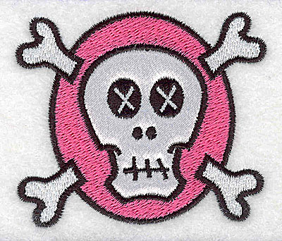 Embroidery Design: White skull on pink small applique 2.99w X 2.55h