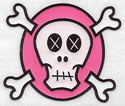 Embroidery Design: White skull on pink large double applique 5.82w X 4.95h
