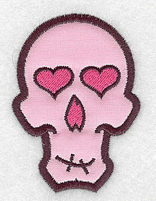 Embroidery Design: Pink skull with heart eyes small applique 2.33w X 3.22h