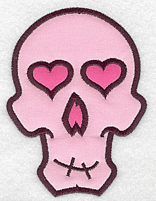 Embroidery Design: Pink skull with heart eyes large double appliques 3.70w X 4.99h