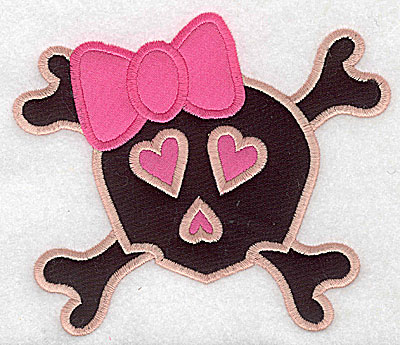 Embroidery Design: Pink skull with bow large double appliques 5.80w X 4.99h