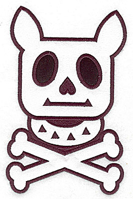 Embroidery Design: Dog with collar and cross bones double applique 6.95w X 4.39h