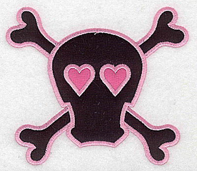 Embroidery Design: Pink Skull with cross bones large double applique 5.73w X 4.97h