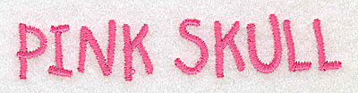 Embroidery Design: Pink Skull text small 3.86w X 0.73h
