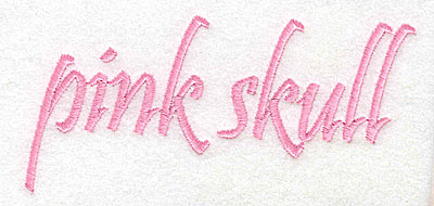 Embroidery Design: Pink Skull text large  4.84w X 2.36h