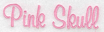 Embroidery Design: Pink Skull script large 4.94w X 1.26h