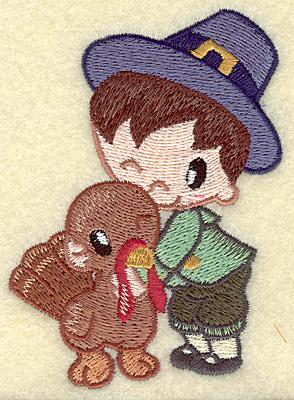 Embroidery Design: Pilgrim boy with turkey small 2.84w X 3.81h