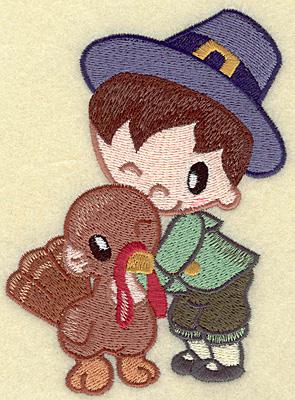 Embroidery Design: Pilgrim boy with turkey large 3.69w X 4.95h