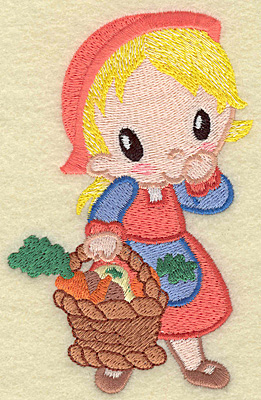 Embroidery Design: Pilgrim girl with basket large 3.25w X 4.92h