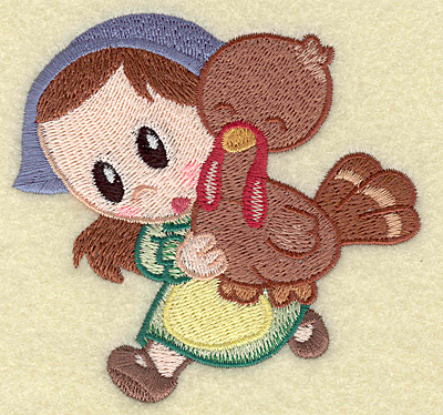 Embroidery Design: Pilgrim girl running with turkey small 3.75w X 3.59h