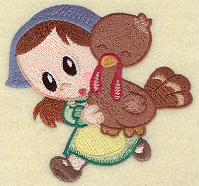 Embroidery Design: Pilgrim girl running with turkey large 4.88w X 4.67h