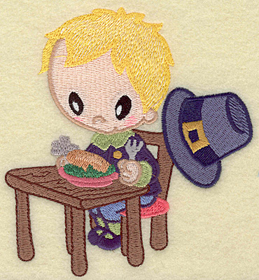 Embroidery Design: Pilgrim boy with drumstick large 4.56w X 4.93h