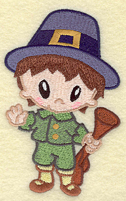 Embroidery Design: Pilgrim boy with musket large 3.10w X 4.89h