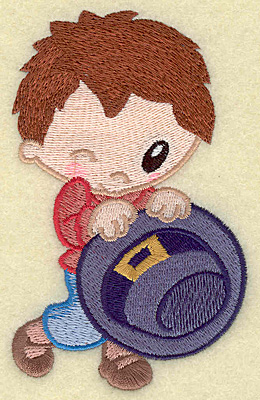 Embroidery Design: Pilgrim boy holding hat large 3.04w X 4.93h