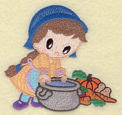 Embroidery Design: Pilgrim girl cooking small 3.76w X 3.53h