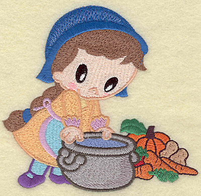 Embroidery Design: Pilgrim girl cooking large 4.89w X 4.59h