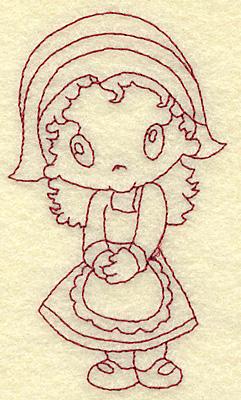 Embroidery Design: Pilgrim girl redwork 2.26w X 3.84h