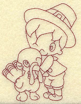 Embroidery Design: Pilgrim boy with turkey redwork 2.85w X 3.85h
