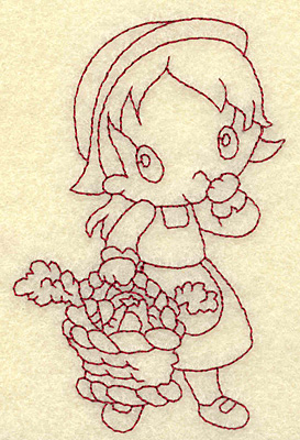 Embroidery Design: Pilgrim girl with basket redwork 2.55w X 3.87h