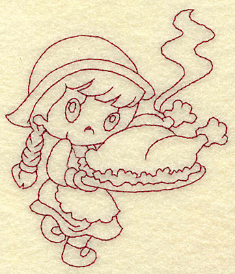 Embroidery Design: Pilgrim girl with cooked turkey redwork 3.35w X 3.88h