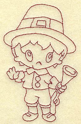 Embroidery Design: Pilgrim boy with musket redwork 2.36w X 3.83h