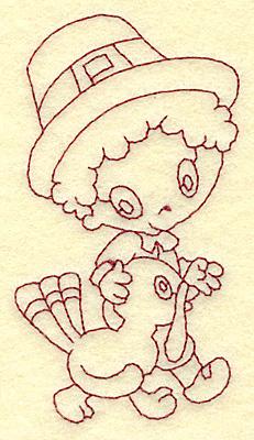 Embroidery Design: Pilgrim boy walking with turkey redwork 2.21w X 3.84h