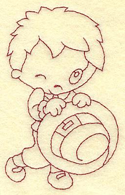 Embroidery Design: Pilgrim boy with hat redwork2.37w X 3.86h