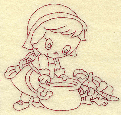 Embroidery Design: Pilgrim girl cooking redwork 3.80w X 3.55h